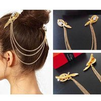 Wholesale Hair Comb with Tassel For Hair Fashion Retro Gold Angel Feather Hair Barrette comb Clip Feather Headband For Women