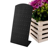 Wholesale 10pcs Fashion Holes Pairs Earrings Ear Studs Plastic Display Stand Showcase Rack Holder Jewelry Organizer Show Case Black