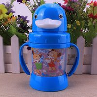 animal update - 2016 New Fashion Updated Durable Practical Baby Diaper Kids Straw Cup Drinking Bottle Feeding Sippy Cups With handles Cute Design PP Plastic