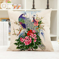 Wholesale Peacock Linen pillow cover flax car home office nap pillow cushions without core