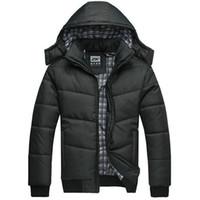 al por mayor hombres chaqueta acolchada-2016 nuevos hombres de la capa del invierno acolcharon la chaqueta que camina negra del caminante de la chaqueta que camina masculina caliente del parka del outwear algodón acolchó encapuchado abajo del coatl