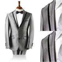 Real Picture Groom Tuxedos Peak Lapel Meilleur Homme Costume Silver Grey Groomsman / Bridegroom Wedding / Prom Suits (Veste + Pantalon + Cravate + Girdle)