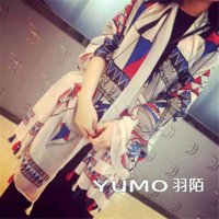Wholesale New Arrival Spring Summer Geometric Pattern Women Beach Wrap Scarf With Tassel Big Promotion Cotton Blend Ladies Long Scarf New