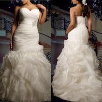 advanced crystal - Advanced Custom Plus Size Organza Wedding Dress Sexy Sweetheart Strapless Beautifully Ruffles Court Train Lace up Plus Size Bridal Gown