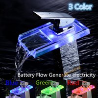 Cheap LED LIGHT square Glass Waterfall Bathroom Basin Faucet Water Power Basin led Mixer 3 Colors Change Led Mixer Tap