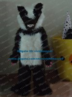 badger fur - Fearsome Black Skunk Mephitine Badger Meles Meles Mascot Costume Cartoon Character Mascotte Adult Long Fur ZZ405