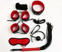Wholesale Sex Bondage Kit Set Sexy Product Set Adult Games Toys Set Hand Cuffs Footcuff Whip Rope Blindfold Couples Erotic Toys
