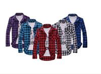Wholesale Wizi homme Korea style plaid shirts casual men flannel shirt spring luxury fine brand long sleeved plus size men shirts