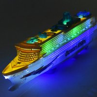 Wholesale 36set New Large luxury cruise ship Toy Boat model Universal rotation music light Baby toy colorful luminous ocean liner gift