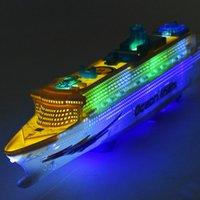 36set / lot nuevo barco de cruceros de lujo de gran tamaño barco de juguete universal de rotación de música luz de juguete bebé juguete luminoso de color naranja regalo
