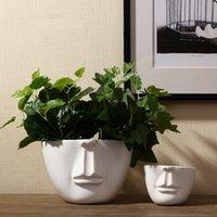 achat en gros de ceramic and porcelain vase-Pur Handmade Porcelaine Trois Forme Taille Face Vases Interior Design Pot Luxe Style moderne de céramique décorative Art Vase Blanc Couleur Accueil Déc