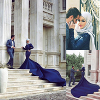 arab fashion designers - Arab Designers Evening Dresses Dubai Saudi Arabia Abaya Long Sleeves Beaded Mermaid Royal Blue Indian Muslim Evening Gowns