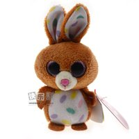 baby sound clips - Ty Beanie Boos Big Eyes Plush Animals Clip Cute KeyChain cm Brown Rabbit TY Baby For Kids Brithday Gifts