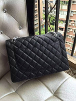 Wholesale Excellent Quality Black Quilted Caviar Leather Classic Flap Maxi Double Flaps Women s Genuine Leather Cross body Bag cm