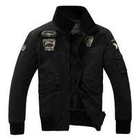 Lapel Neck air force fleece - Autumn Winter Men s Air Force One Bomber Jacket Sportswear Men USAF Military Tactical Pilot Raf Simons Jackets Fleece Male Coat Oversize XL