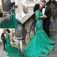 Cheap 2017 Arabic Style Plus Size Formal Prom Dresses V Neck Sheer Long Sleeves Green Lace Tulle Beaded Special Occasion Evening Gowns Custom Made
