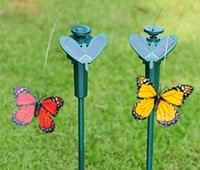 Wholesale EMS set Solar power garden butterfly toy educational toys solar Energy and battery combo Attract butterflies gardener gift
