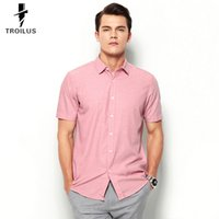 Wholesale Troilus Mens Slim Fit Solid Color Turn Down Collar Short Sleeved Business Dress Shirts