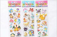 Wholesale 2016 Cartoon poke Kids toys cards students Stickers Pikachu Stickers Kids Cartoon Craft Scrapbook Stickers kid gift sheets