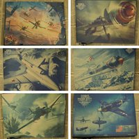 aircraft wall papers - Retro Movie Kraft Paper Poster vintage History Wall Sticker Painting Antique Home decor Old aircraft