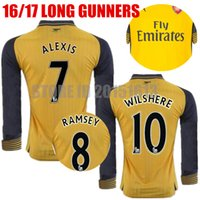 arsenal away shirt - 2016 Long Sleeve Arsenal Soccer Jerseys Gunners Jerseys Away Yellow OZIL WILSHERE RAMSEY ALEXIS GIROUD Welbeck Full Football Shirts