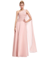 ball flow - 2016 One Shoulder Evening Dresses Long Pink Prom Dress Gown Ruched Bodice Flowing Chiffon Elegant Special Occasion Plus Size Dresses