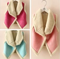 Wholesale New arrival baby coat winter fashion cashmere and suede turn down collar cute baby girl vest BBJH B8376