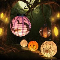 Wholesale New Halloween LED Paper Pumpkin Hanging Lantern DIY Holiday Party Decor Scary Halloween surprise gift to family and friends