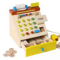Wholesale Baby Toys Simulation Cash Register Wooden Toys Children Educational Cash Register Pretend Play Furniture Toys Child Gift