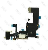Wholesale Charge 4g - 20pcs Dock charge Charger charging USB dock port connector flex cable for iphone 4G 4s 5s 5g 5c Headphone Audio Jack with mic microphone