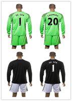 Wholesale 16 Top Thai Quality Manchester Goalkeeper black Green Soccer Jersey Men DE GEA S ROMERO etc Long Sleeve Goalie Jersey