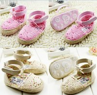 Wholesale Drop shipping Summer baby shoes beige pink princess toddler sandals cotton M kids shoes soft walking infant shoes pairs C