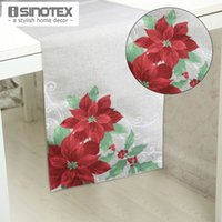 Wholesale 1 New Year Floral Printed Pattern Tablecloth Table Cloth Flag Decorative Table Runner Christmas Festival cm