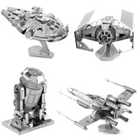 Wholesale D Metal Puzzle Full Set Star Wars R2D2 X Wing Millennium AT AT Destroyer Droid Tie Fighter Empire DIY Assembly Children s