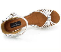 Wholesale Sliver color with crystal newest style bright pu leather woman Latin ballroom tango salsa dance shoes ED075