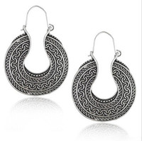 antic white - Exotic Earrings Women Round Vintage Pattern Earring Alloy Bohemia Style Earring Lady Simple Antic Silver Plated Earring