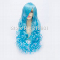 aqua hair color - 80cm Long Hair Spiral Curly Cosplay Costume Wig Aqua blue Yoshino Date A Live Anime Curl Wigs