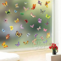 Wholesale Kitchen Door Glass Stickers - The third generation wall stickers butterfly colorful glass kitchen cabinet decoration stickers window stickers door stickers