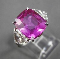 antique sapphire ring white gold - ANTIQUE PLATINUM CT DIAMOND AAA PINK SAPPHIRE STONE ENGAGEMENT RING G VS
