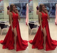 Wholesale 2016 Cheap Thigh Slit Red Evening Dresses V Neck Sexy Open Back Sweep Train Custom Made Formal Prom Gowns Special Occasion Wears