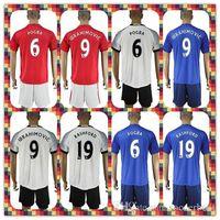 Wholesale Uniforms Kits Manchester IBRAHIMOVIC Rooney Rashford POGBA United Soccer Jersey Red White Blue Home Away Jerseys