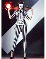 Wholesale Sexy helloween Costumes for women Graveyard Ghost Costume black and white striped suit halloween catsuit