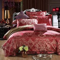Wholesale Seattle Luxury Silk Bedding Set Embroidery Bed Linens Tencel Satin Bed Sheet Set Jacquard Bedclothes Queen King Size Bed cover