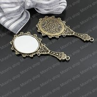 antiqued mirror - Alloy Findings charm pendants Antiqued style bronze tone Mirror