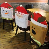 beige dining chairs - 2016 NEW Christmas decorations chair cover high quality nonwoven christmas Hotel Table chair covers dining chair covers bag Supplies