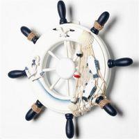 Wholesale Wood Boat Ship Wheel Nautical Decoration Beach Home Rudder Wall Hanging Decor x x cm