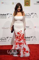 beaded floral patterns - 2016 Celebrity Dresses Off Shoulder Long Sleeves Red Beaded D Floral Appliques th Annual Dubai International Film Festival Evening Gowns