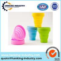 Wholesale custom soft food grade silicone drinking cup foldable silicone cup silicone Collapsible Cup with lid for travel