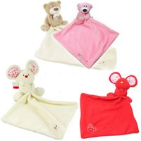 babies comforter - New pc Baby Comforter Toy Cute Cartoon Animal Soft Plush Rattle with Ring Bell Multifunctional Saliva towel Baby Care