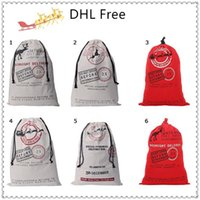 Wholesale New Arrival Christmas Bags Large Canvas Designs Choice Santa Claus Drawstring Bag With Reindeers Christmas Gift Decorations Bags DHL Free